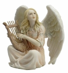 Angel Sitting with Lyre Sculpture