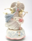 Angel with Ballerina Porcelain Musical Music Box Sculpture