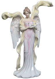 Angel with Dove in Pink Dress Porcelain Sculpture