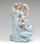 Angel with Flower Basket and Butterfly Musical Music Box Sculpture