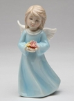 Angel with Flowers Porcelain Sculptures, Set of 2