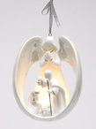 Angel with Holy Family Light Cover Christmas Tree Ornaments, Set of 4