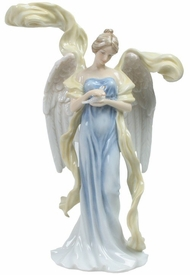Angel with Resting Dove Porcelain Sculpture
