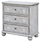 Annabelle French Scroll Overlay 3 Drawer Antique White Wood Chest