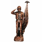 Antique Bronze Air Force Soldier with American Flag Statue