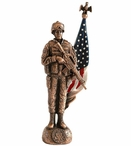 Antique Bronze Female Army Soldier with Painted American Flag Statue