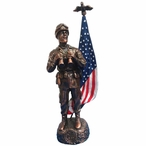 Antique Bronze Army Soldier with Painted American Flag Statue