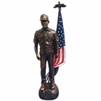 Antique Bronze Coast Guard Soldier with Painted American Flag Statue