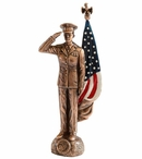 Bronze Female Marine Corps Soldier with Painted American Flag Statue
