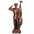 Antique Bronze Marine Corps Soldier with American Flag Statue