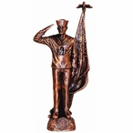 Antique Bronze Navy Soldier with American Flag Statue