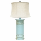 Antique Can Metal Table Lamp with White Linen Shade