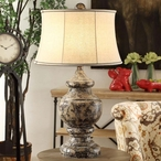Antique Corbel Resin Table Lamp with Linen Shade