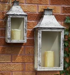 Antique Cream Iron Wall Candle Lanterns Candle Holders
