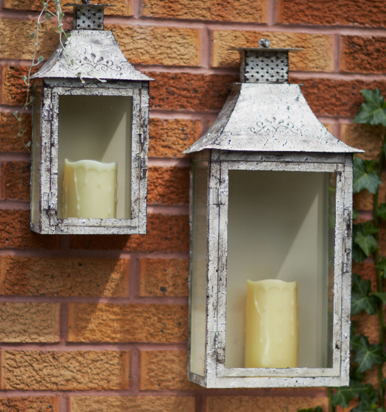 Antique Cream Wood Metal Wall Decor: Antique Cream Iron Wall Candle Lanterns Candle Holders