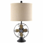 Antique Fan Metal and Resin Table Lamp with Burlap Shade