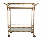 Antique Gold Bamboo Iron Tea Cart with Glass