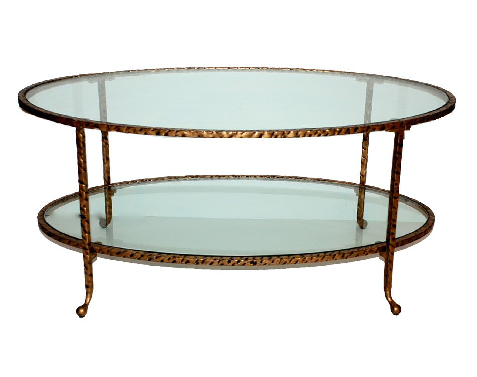 Antique gold hammered iron oval coffee table with glass for Oval glass coffee table