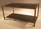 Antique Gold Iron Coffee Table with Glass