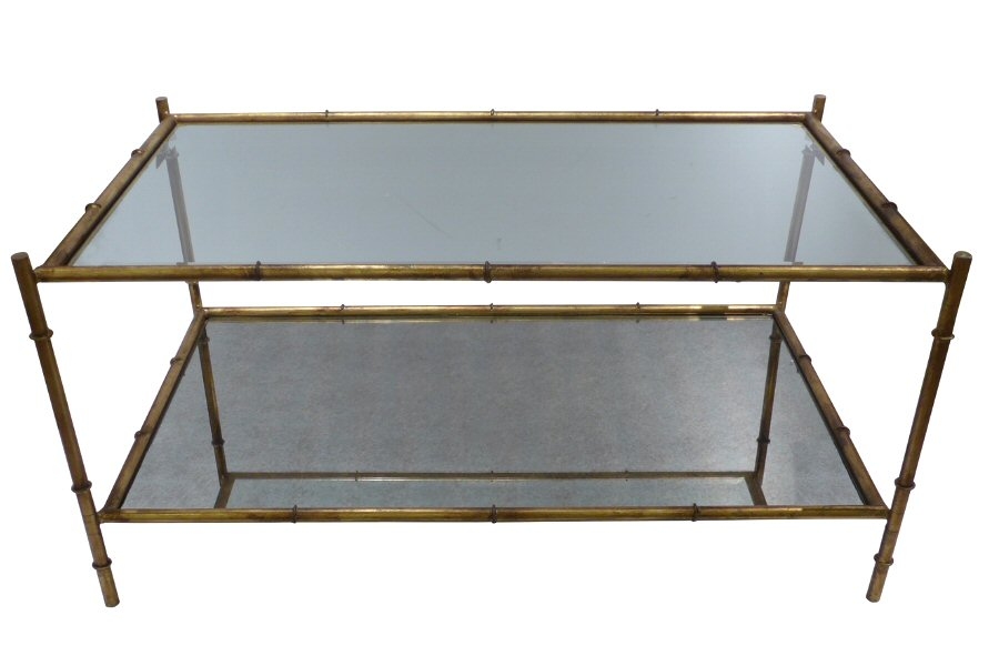 Antique Gold Two Tier Coffee Table Dessau Home HC - Two level coffee table