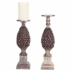 Antique Pewter Pinecone Pillar Candle Holder, Set of 2