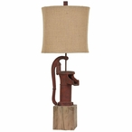 Antique Pump Resin Table Lamp with Burlap Shade