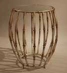 Antique Silver Bamboo Drum Iron Accent Table with Mirror Top