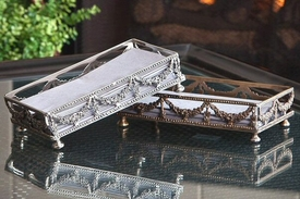 Antique Silver Garland Guest Towel Holder, Set of 4
