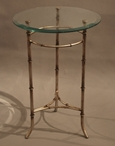 Antique Silver Iron Accent Table with Beveled Glass Top