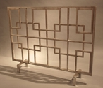 Antique Silver Squares Iron Fireplace Screen