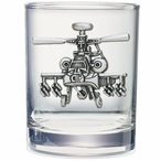 Apache Helicopter Pewter Accent Double Old Fashion Glasses, Set of 2
