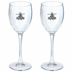 Apache Helicopter Pewter Accent Wine Glass Goblets, Set of 2