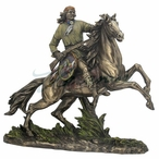 Apache Indian Warrior on Horseback with Riffle and Shield Sculpture