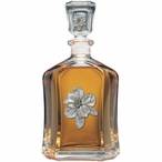 Apple Blossom Capitol Glass Decanter with Pewter Accents