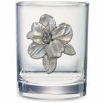 Apple Blossom Pewter Accent Double Old Fashion Glasses, Set of 2