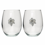 Apple Blossom Pewter Accent Stemless Wine Glass Goblets, Set of 2