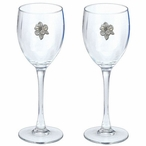 Apple Blossom Pewter Accent Wine Glass Goblets, Set of 2