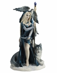 Arcana the Shaman with Wolf and Bird Sculpture by Ruth Thompson