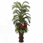 Areca & Mixed Greens Silk Plant with Bamboo Planter