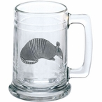 Armadillo Glass Beer Mug with Pewter Accent
