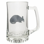 Armadillo Glass Super Beer Mug with Pewter Accent