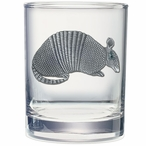 Armadillo Pewter Accent Double Old Fashion Glasses, Set of 2
