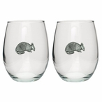 Armadillo Pewter Accent Stemless Wine Glass Goblets, Set of 2