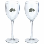 Armadillo Pewter Accent Wine Glass Goblets, Set of 2