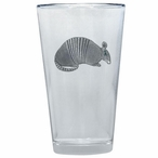 Armadillo Pint Beer Glasses with Pewter Accent, Set of 2