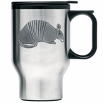 Armadillo Stainless Steel Travel Mug with Handle and Pewter Accent