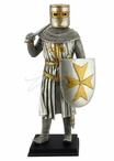 Armor Crusader Holding Axe and Shield with Maltese Cross Sculpture