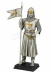 Armor Crusader with Maltese Cross Flag in His Right Hand Sculpture