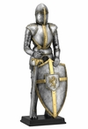 Armor with Sword and Lion Crest on Shield Medieval Sculpture