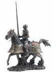 Armored Knight Riding Horse with Jousting Lance Medieval Sculpture